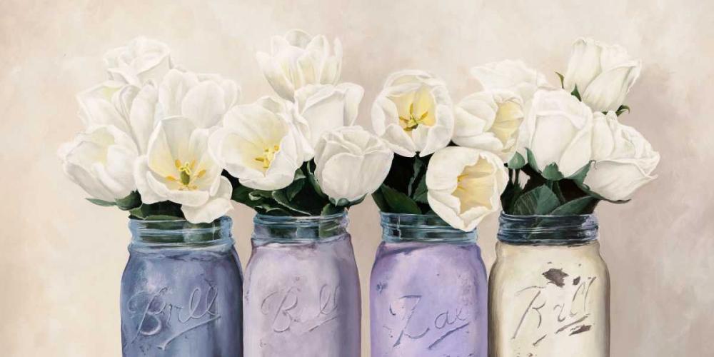 konfigurieren des Kunstdrucks in Wunschgröße Tulips in Mason Jars- detail von Thomlinson, Jenny