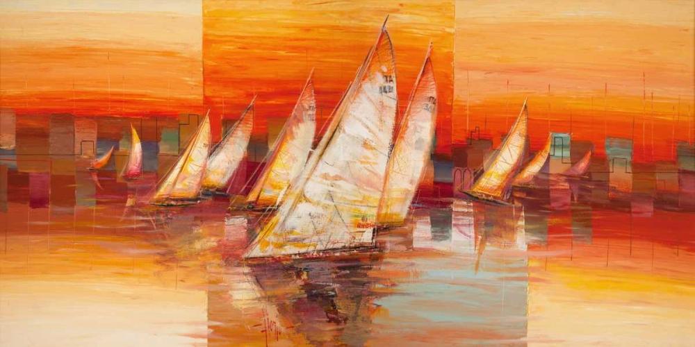 konfigurieren des Kunstdrucks in Wunschgröße Vele al tramonto von Florio, Luigi