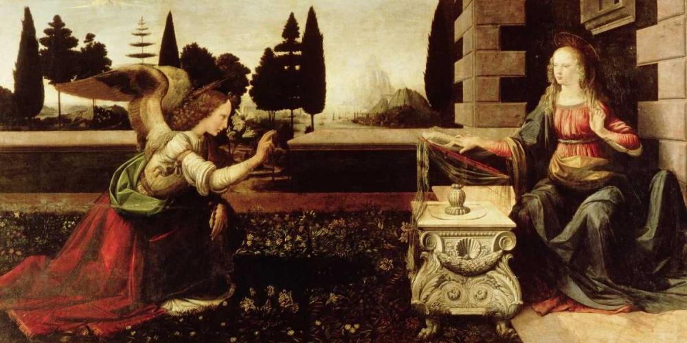 konfigurieren des Kunstdrucks in Wunschgröße Annunciazione von Da Vinci, Leonardo