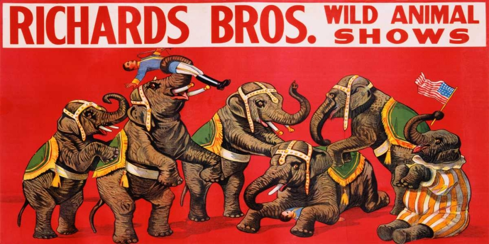 konfigurieren des Kunstdrucks in Wunschgröße Richards Bros. Wild Animal Shows ca. 1925 von Anonymous