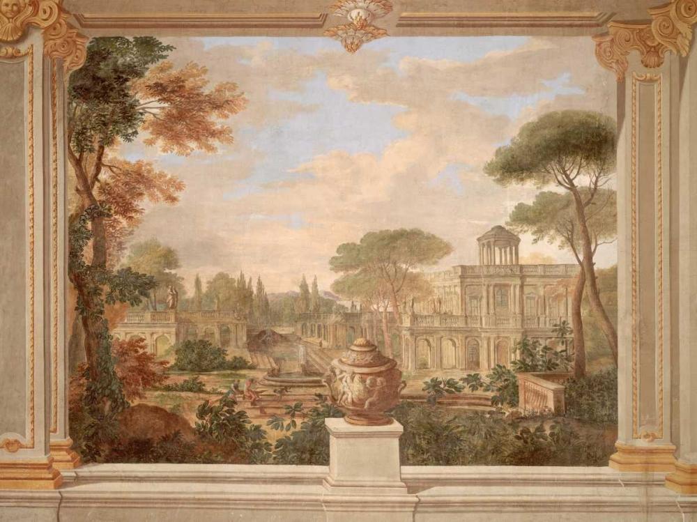 konfigurieren des Kunstdrucks in Wunschgröße Fresco of Rome landscape von Anonymous