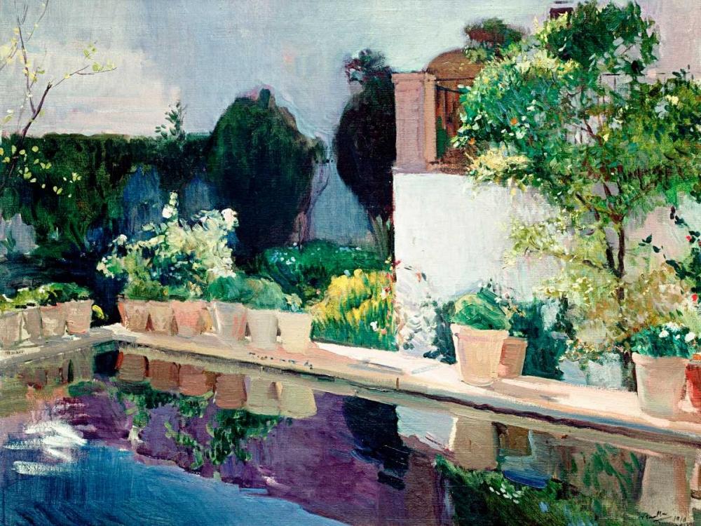 konfigurieren des Kunstdrucks in Wunschgröße Palace of Pond, Royal Gardens in Seville von Sorolla y Bastida, Joaquin