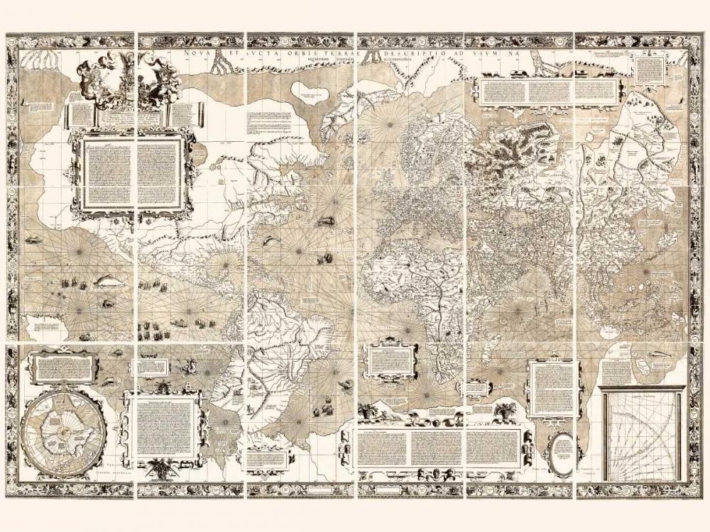 konfigurieren des Kunstdrucks in Wunschgröße Nova et Aucta Orbis Terrae Descriptio 1569 von Anonymous