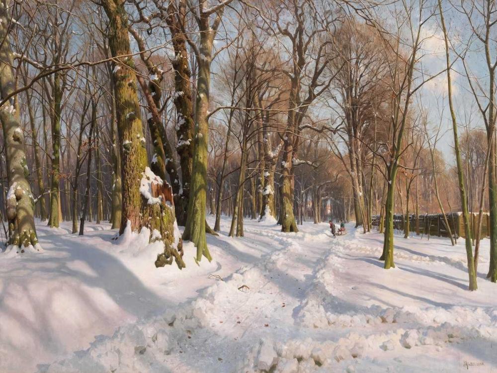 konfigurieren des Kunstdrucks in Wunschgröße Snowy forest road in sunlight von Monsted, Peder