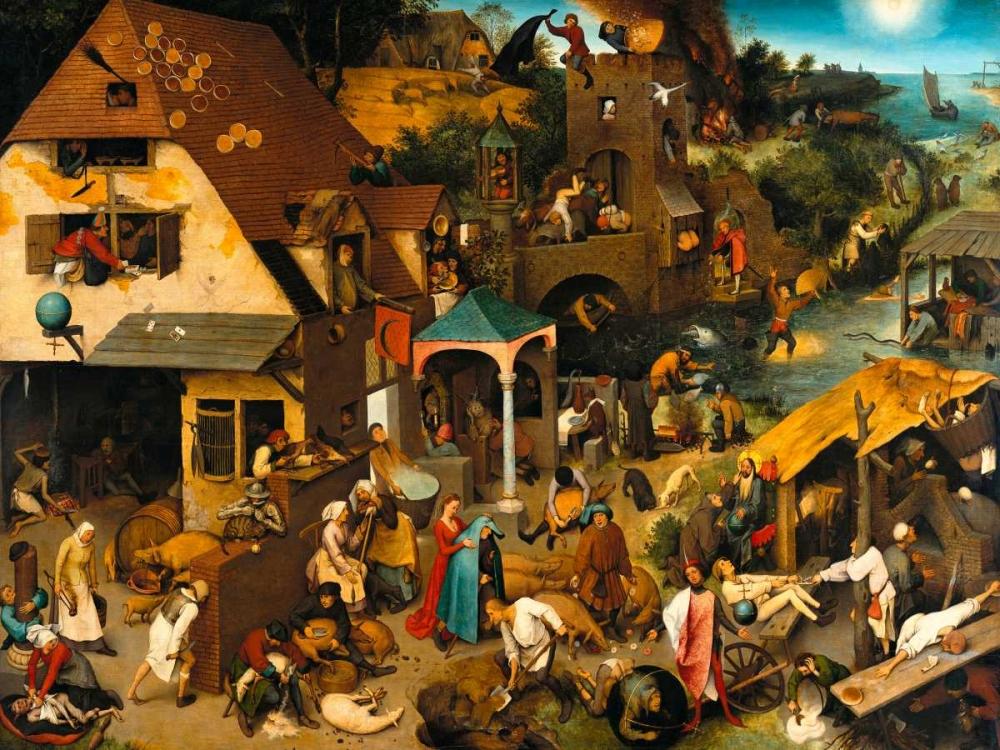 The Dutch Proverbs von Bruegel, Pieter the Elder <br> max. 155 x 117cm <br> Preis: ab 10€