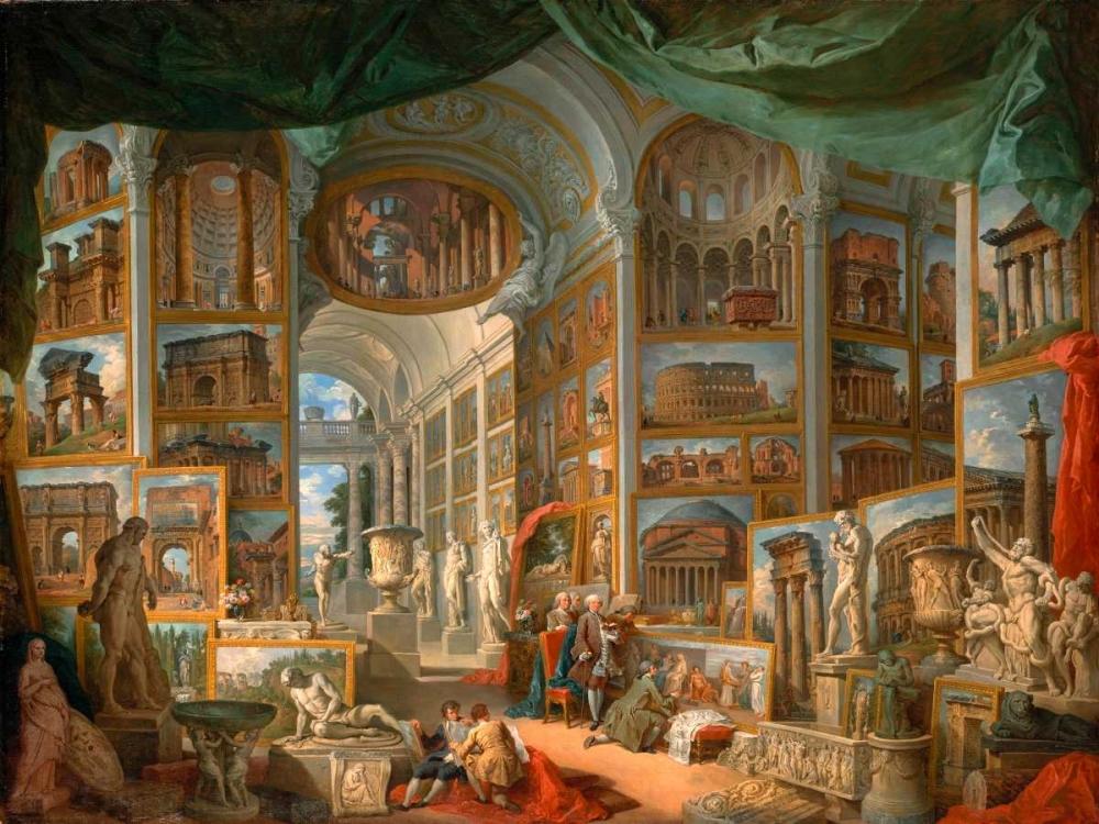 konfigurieren des Kunstdrucks in Wunschgröße Galleria con vedute di Roma antica von Panini, Giovanni Paolo