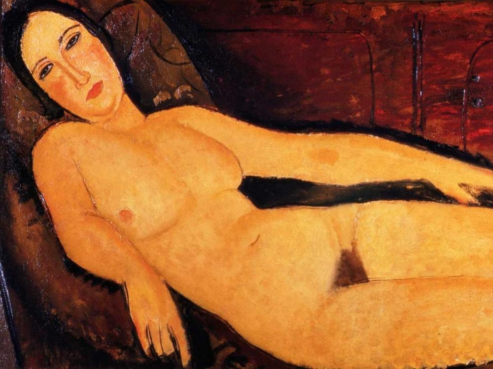 konfigurieren des Kunstdrucks in Wunschgröße Nude on a Divan von Modigliani, Amedeo