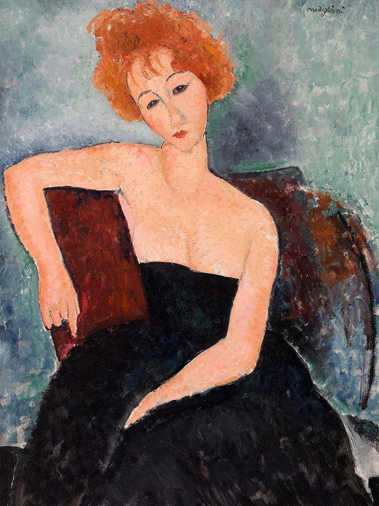 konfigurieren des Kunstdrucks in Wunschgröße Jeune fille rousse en robe de soir (detail) von Modigliani, Amedeo