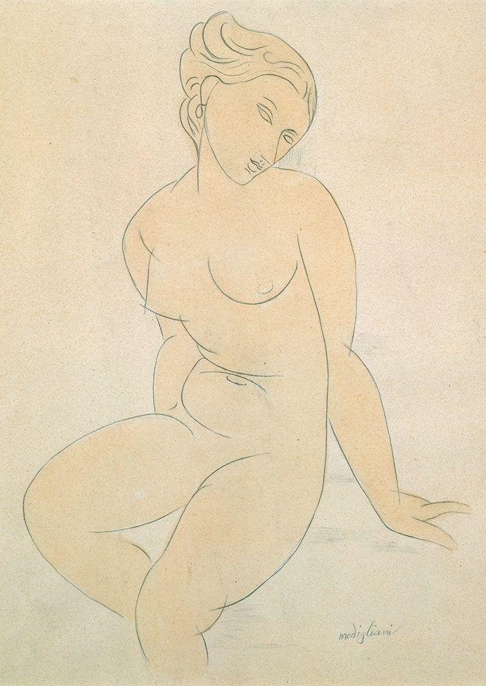 konfigurieren des Kunstdrucks in Wunschgröße Seated Female Nude von Modigliani, Amedeo