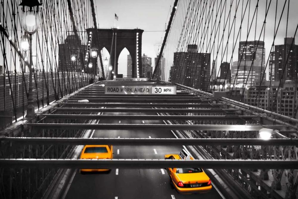 konfigurieren des Kunstdrucks in Wunschgröße Taxi on Brooklyn Bridge, NYC von Anonymous