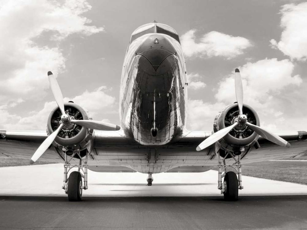 konfigurieren des Kunstdrucks in Wunschgröße Vintage DC-3 in air field von Anonymous