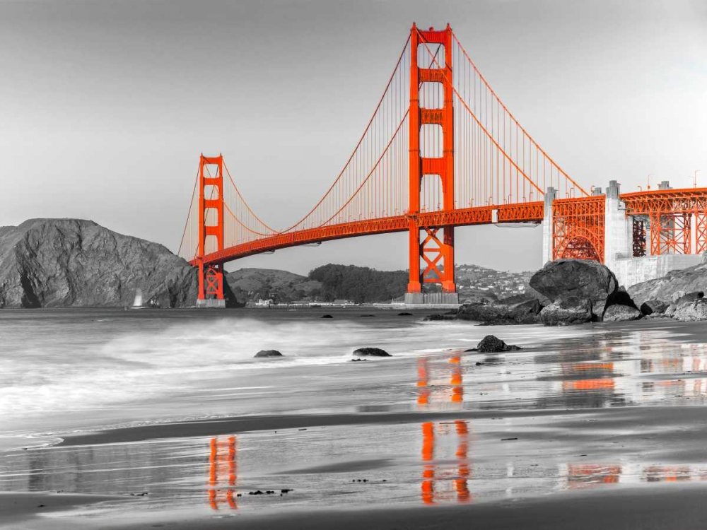konfigurieren des Kunstdrucks in Wunschgröße Baker beach and Golden Gate Bridge, San Francisco von Anonymous