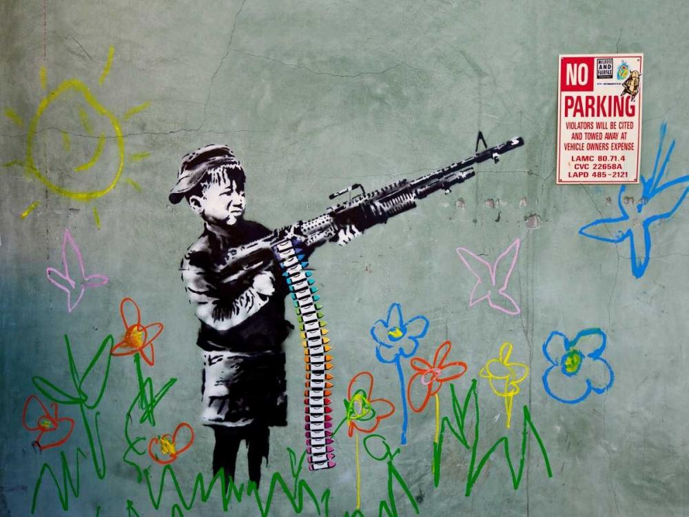 konfigurieren des Kunstdrucks in Wunschgröße Westwood Los Angeles-graffiti attributed to Banksy von Anonymous