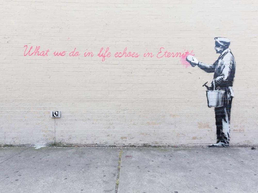 konfigurieren des Kunstdrucks in Wunschgröße 68th Str-38th Avenue Queens NYC-graffiti attributed to Banksy von Anonymous