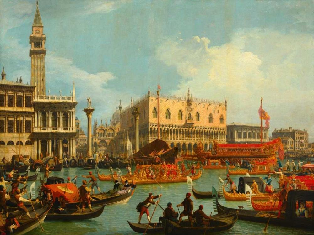 konfigurieren des Kunstdrucks in Wunschgröße Il ritorno del Bucintoro al molo davanti a Palazzo Ducale von Canaletto