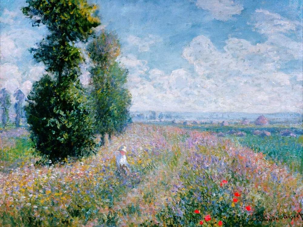 konfigurieren des Kunstdrucks in Wunschgröße Meadow with Poplars von Monet, Claude
