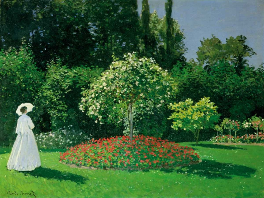 konfigurieren des Kunstdrucks in Wunschgröße Young Woman in a Garden von Monet, Claude