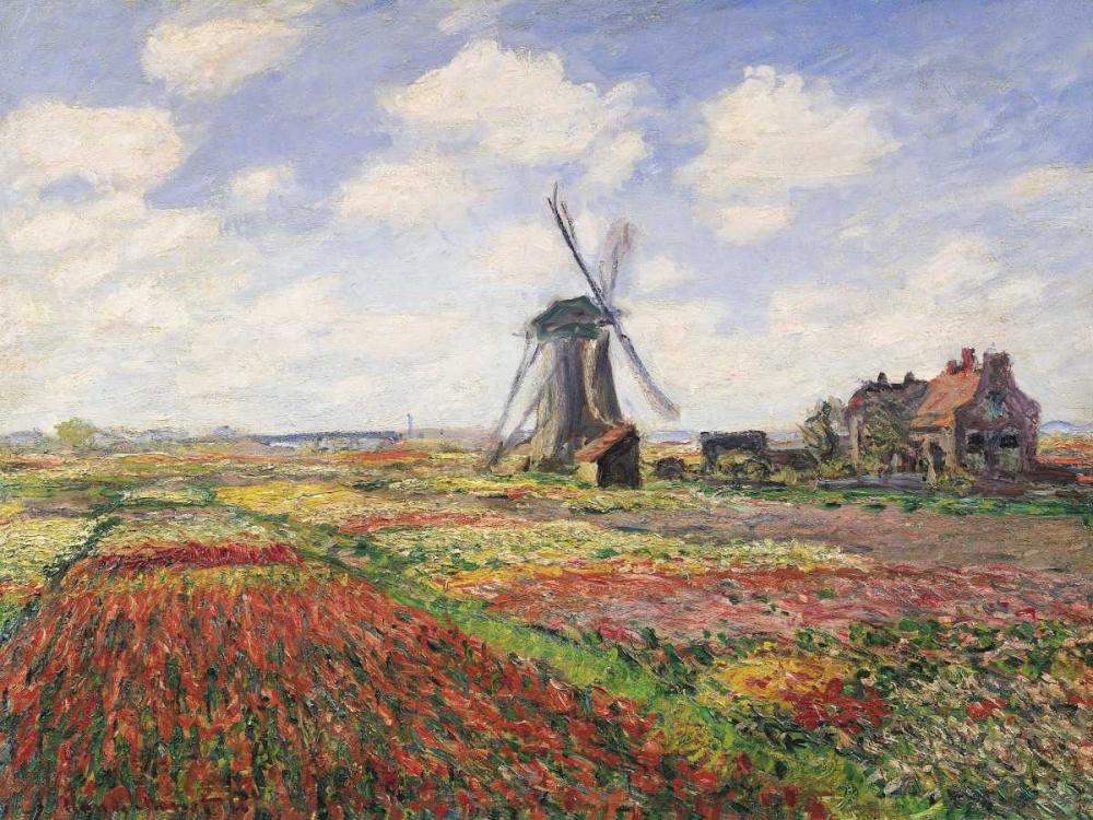 konfigurieren des Kunstdrucks in Wunschgröße Tulip Fields with Windmill von Monet, Claude