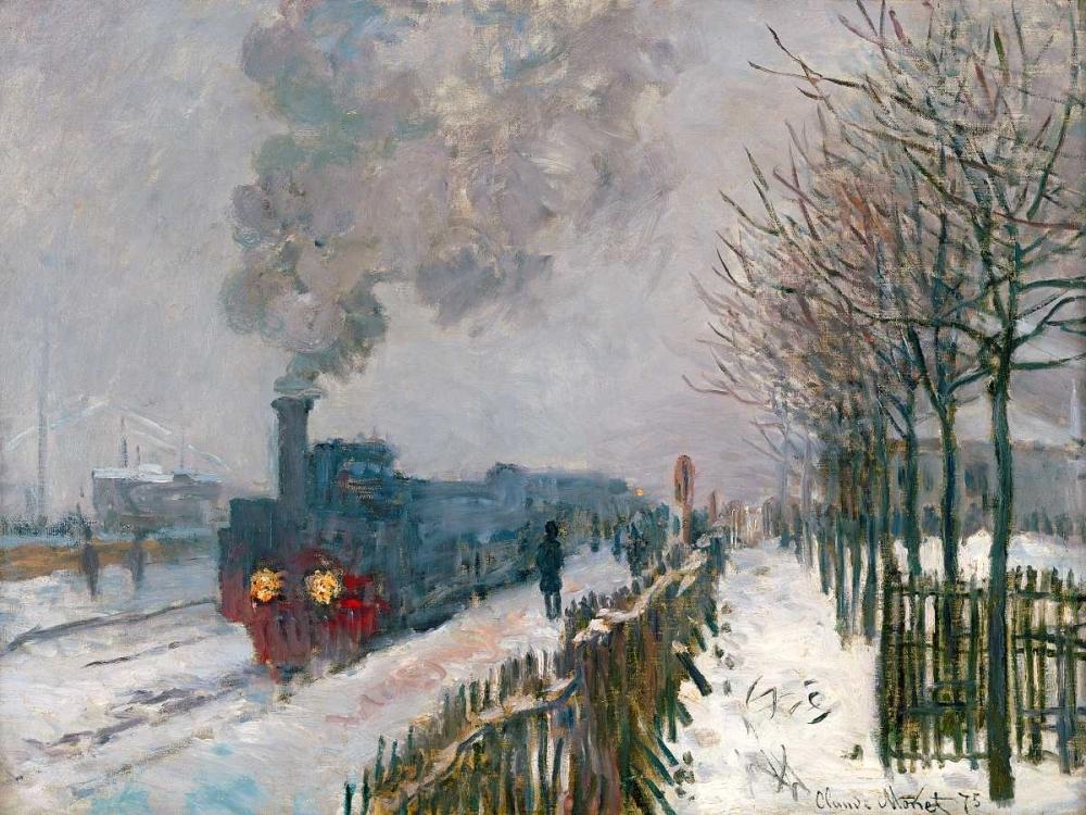 konfigurieren des Kunstdrucks in Wunschgröße Le train dans la neige von Monet, Claude