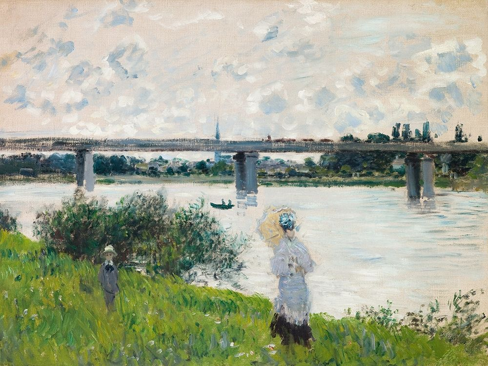 konfigurieren des Kunstdrucks in Wunschgröße The Promenade with the Railroad Bridge- Argenteuil von Monet, Claude