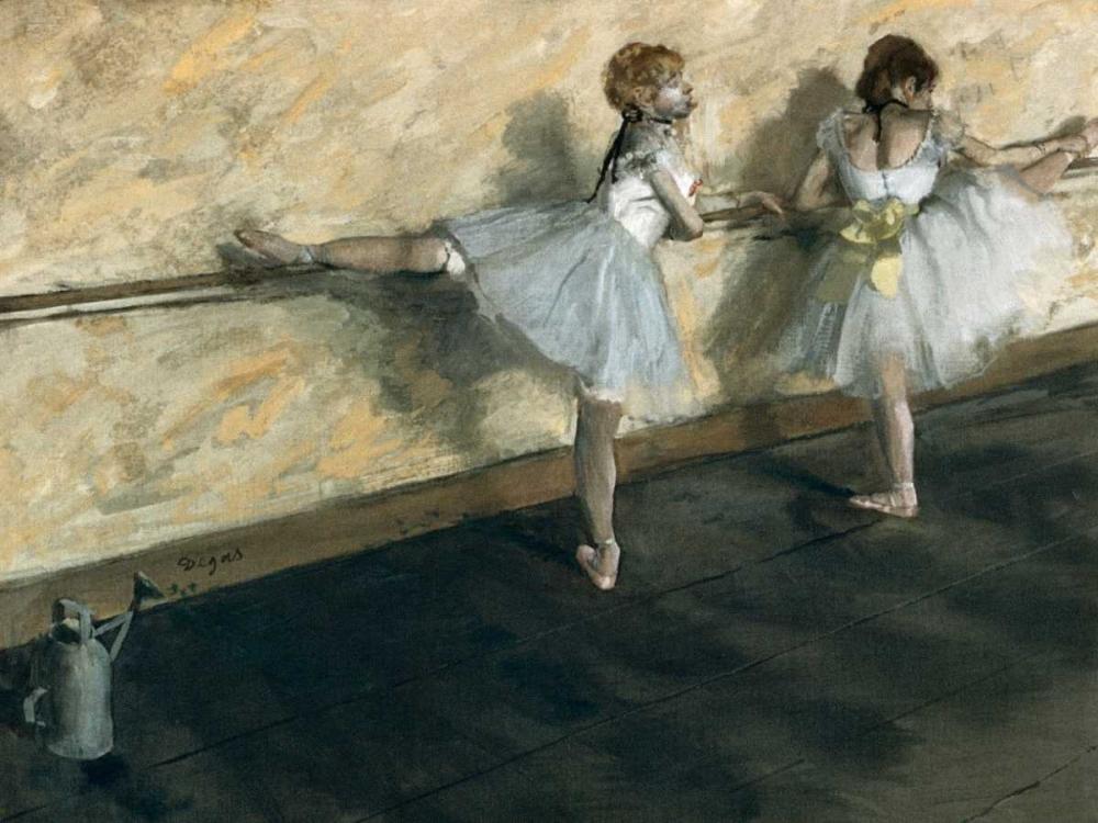 konfigurieren des Kunstdrucks in Wunschgröße Dancers Practicing at the Barre von Degas, Edgar