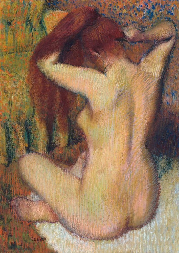 konfigurieren des Kunstdrucks in Wunschgröße Woman Combing her Hair von Degas, Edgar