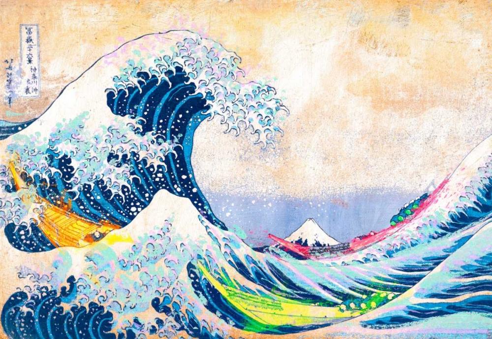 konfigurieren des Kunstdrucks in Wunschgröße Hokusais Wave 2.0 von Chestier, Eric