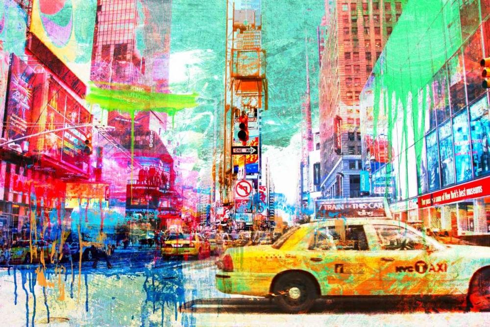 konfigurieren des Kunstdrucks in Wunschgröße Taxis in Times Square 2.0 von Chestier, Eric