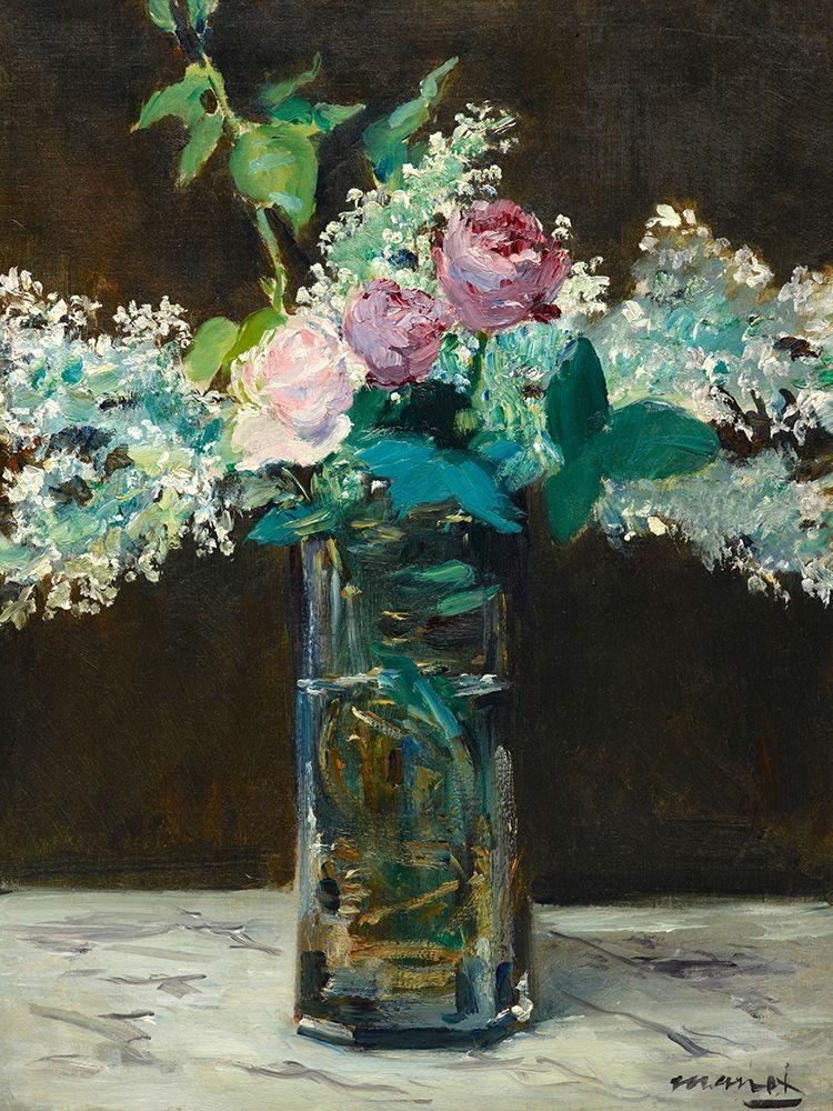 konfigurieren des Kunstdrucks in Wunschgröße Vase of White Lilacs and Rose von Manet, Edouard