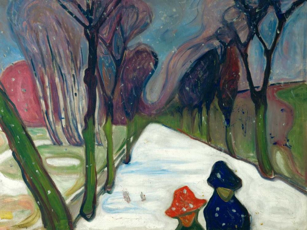 konfigurieren des Kunstdrucks in Wunschgröße Avenue in the Snow von Munch, Edvard