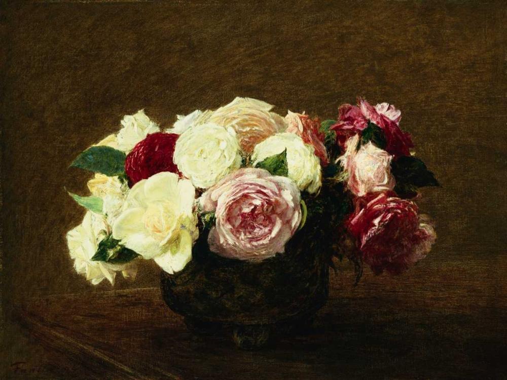 konfigurieren des Kunstdrucks in Wunschgröße Roses von Fantin-Latour, Henri