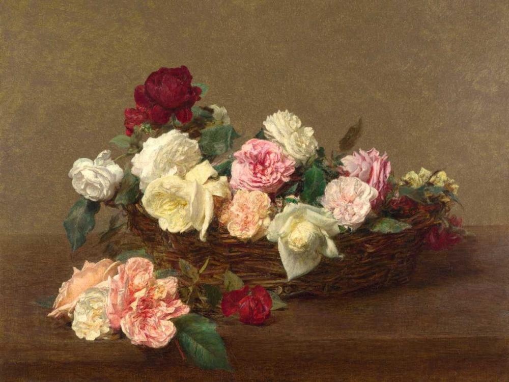 konfigurieren des Kunstdrucks in Wunschgröße A Basket of Roses von Fantin-Latour, Henri