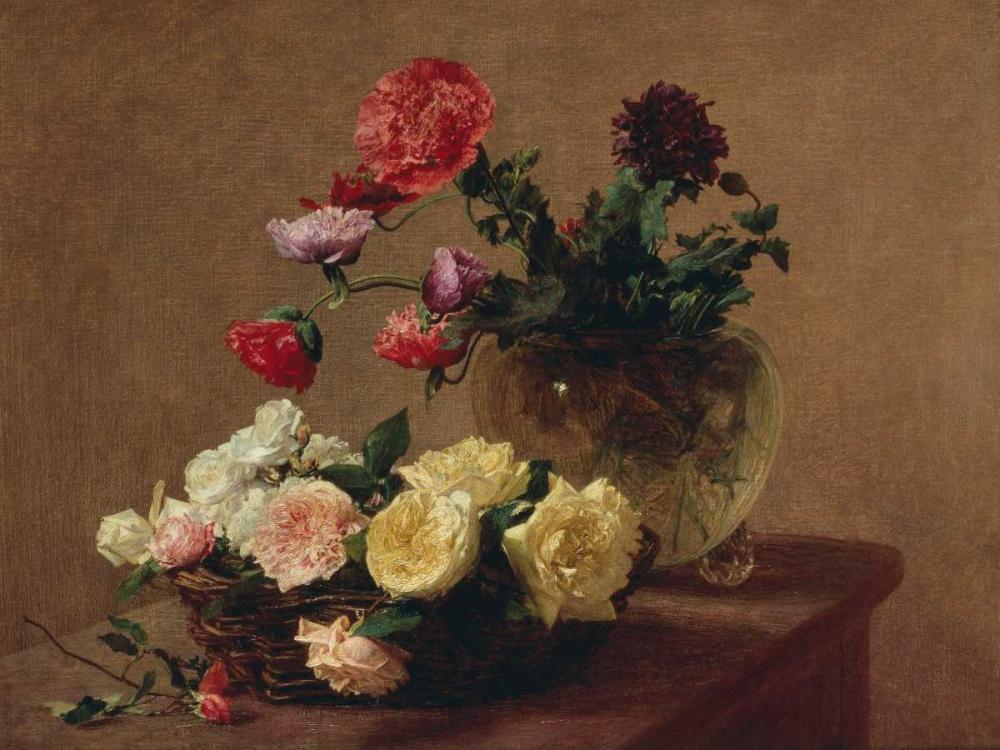 konfigurieren des Kunstdrucks in Wunschgröße Poppies in a Crystal Vase and Roses in a Basket (detail) von Fantin-Latour, Henri
