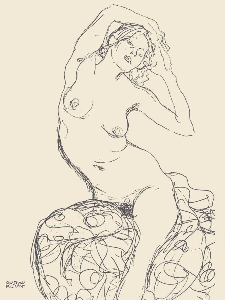konfigurieren des Kunstdrucks in Wunschgröße Seated Nude Woman von Klimt, Gustav