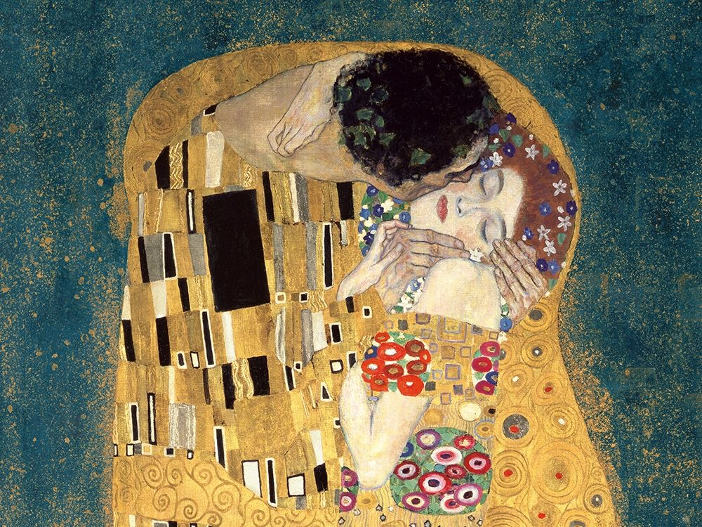 konfigurieren des Kunstdrucks in Wunschgröße The Kiss, detail (Blue variation) von Klimt, Gustav