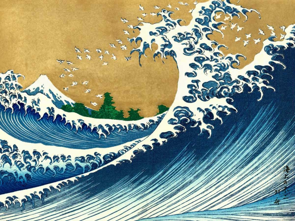 konfigurieren des Kunstdrucks in Wunschgröße The Big Wave-from 100 views of Mt. Fuji von Hokusai