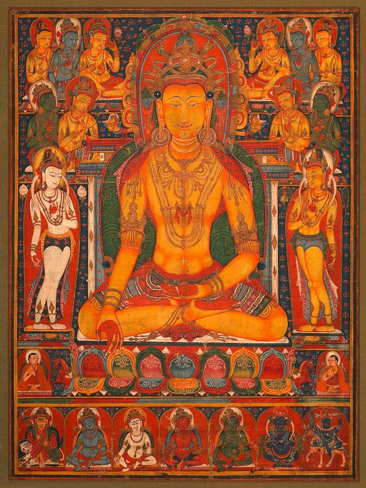 konfigurieren des Kunstdrucks in Wunschgröße Buddha Ratnasambhava with Wealth Deitie von Anonymous