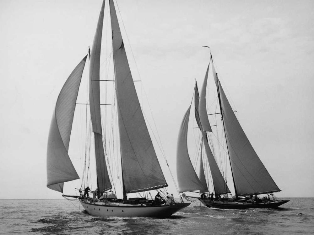konfigurieren des Kunstdrucks in Wunschgröße Sailboats Race during Yacht Club Cruise von Levick, Edwin