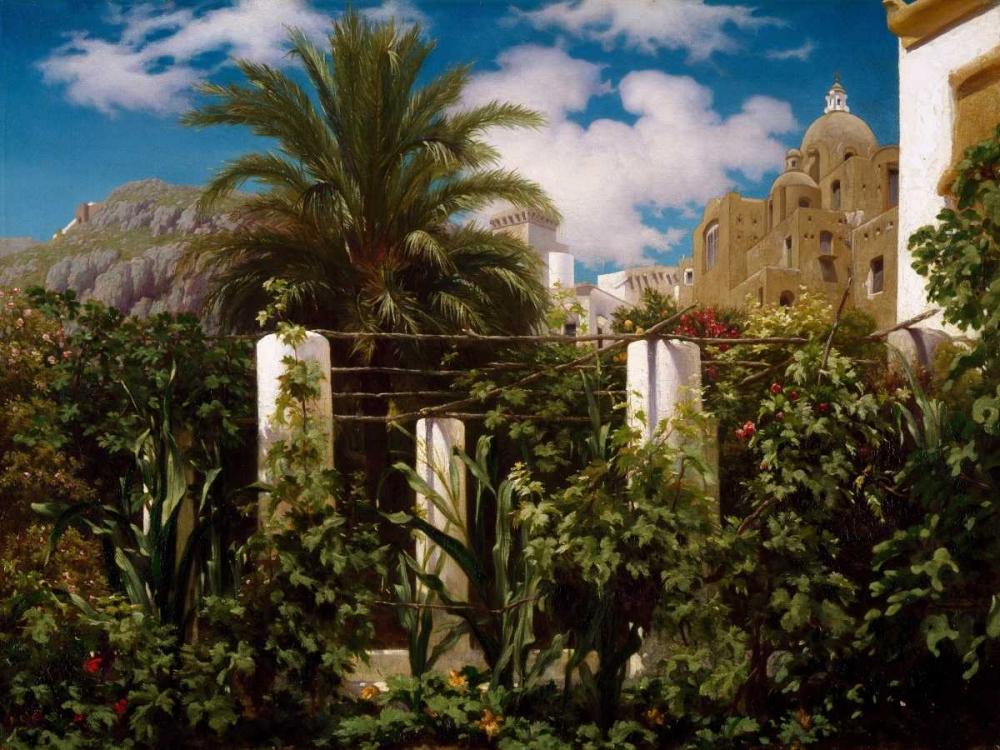 konfigurieren des Kunstdrucks in Wunschgröße Garden of an Inn Capri von Leighton, Frederic