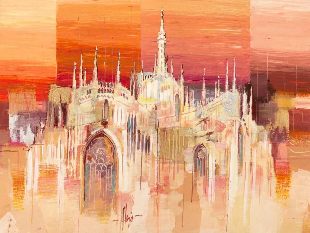 konfigurieren des Kunstdrucks in Wunschgröße Milano al tramonto von Florio, Luigi