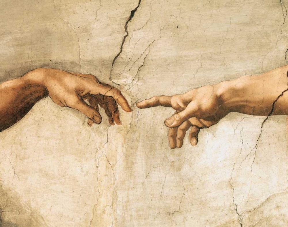 konfigurieren des Kunstdrucks in Wunschgröße La creazione di Adamo (detail) von Buonarroti, Michelangelo
