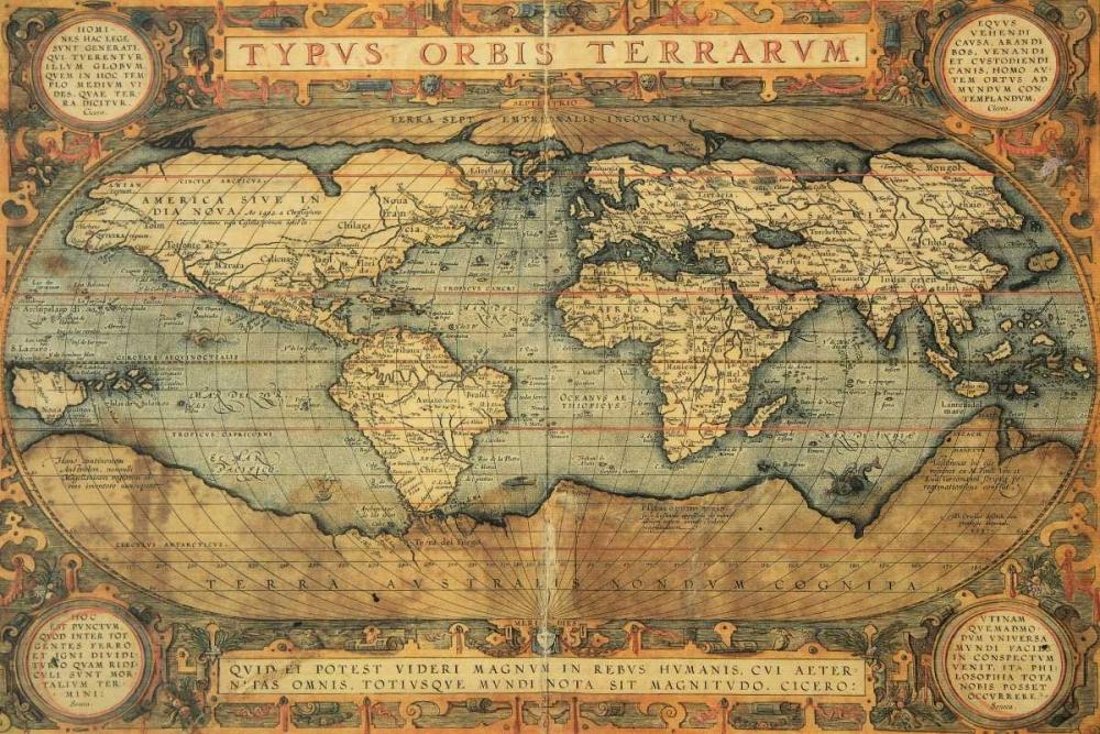 konfigurieren des Kunstdrucks in Wunschgröße Typus Orbis Terrarum 1587 von Ortelius, Abraham