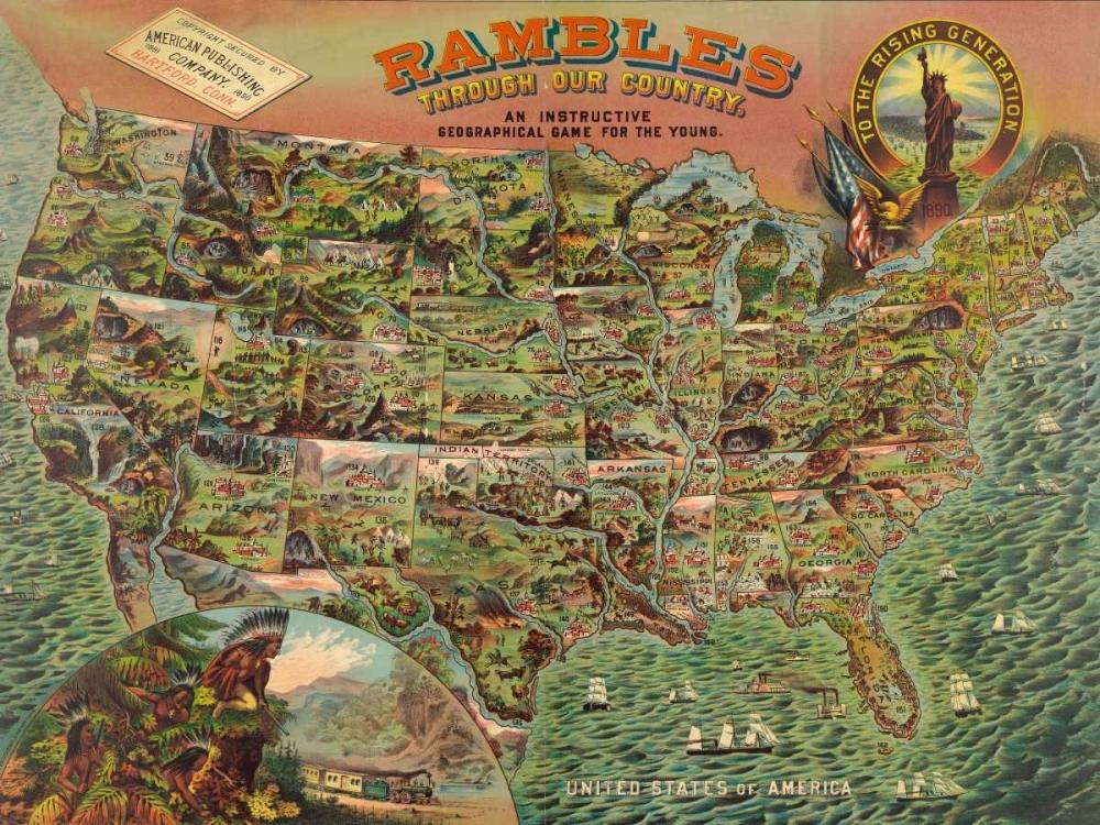 konfigurieren des Kunstdrucks in Wunschgröße Game board with map of America, 1890 von Anonymous
