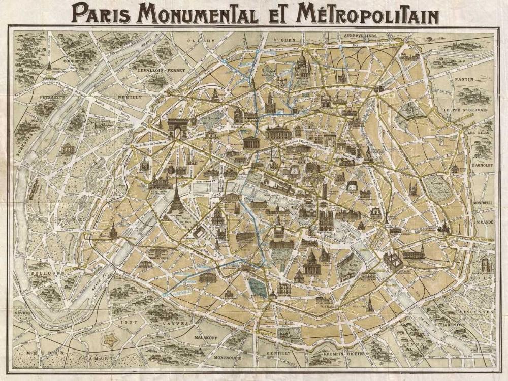 konfigurieren des Kunstdrucks in Wunschgröße Paris Monumental et Metropolitain 1932 von Anonymous