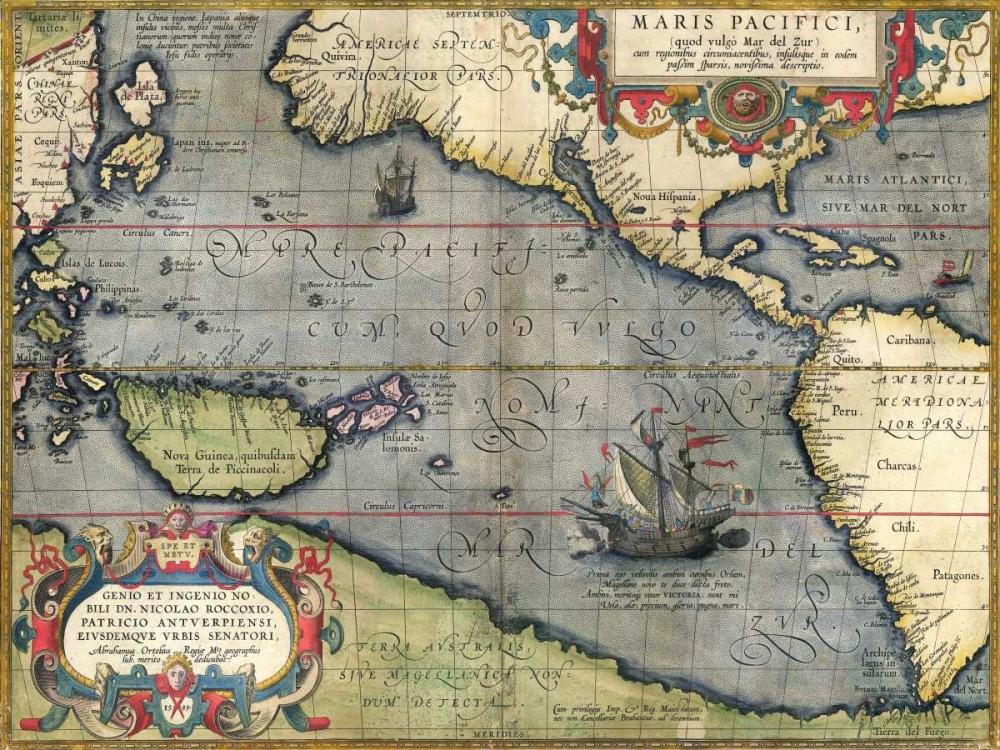 konfigurieren des Kunstdrucks in Wunschgröße Map of the Pacific Ocean, 1589 von Ortelius, Abraham