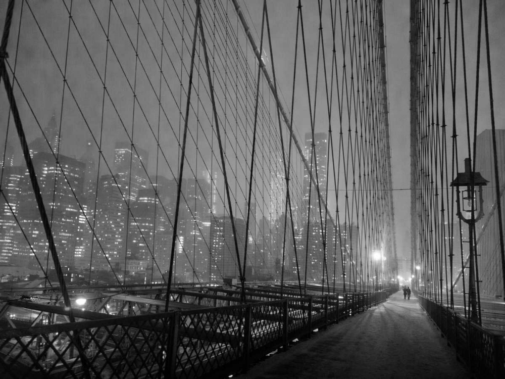 ,Photography,Places,Black & White,Cityscape,,3MS3281,On Brooklyn Bridge by night, NYC,Setboun, Michel,Horizontal