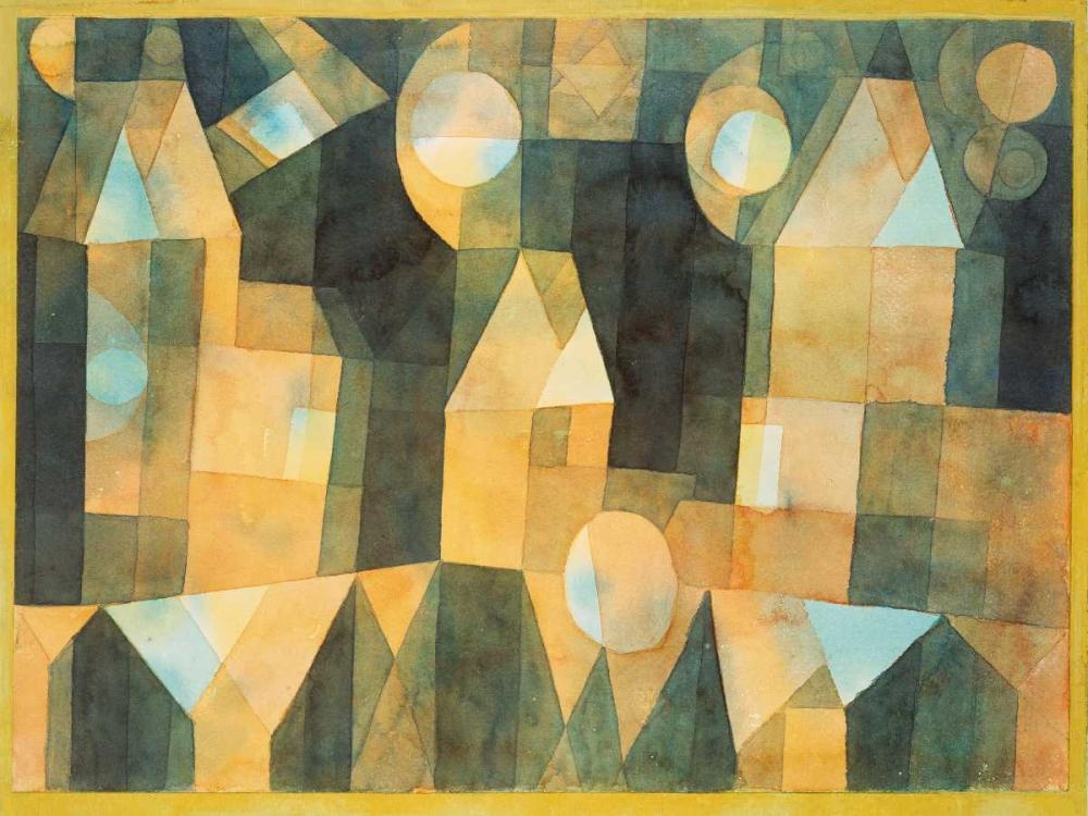 konfigurieren des Kunstdrucks in Wunschgröße Three Houses and a Bridge von Klee, Paul
