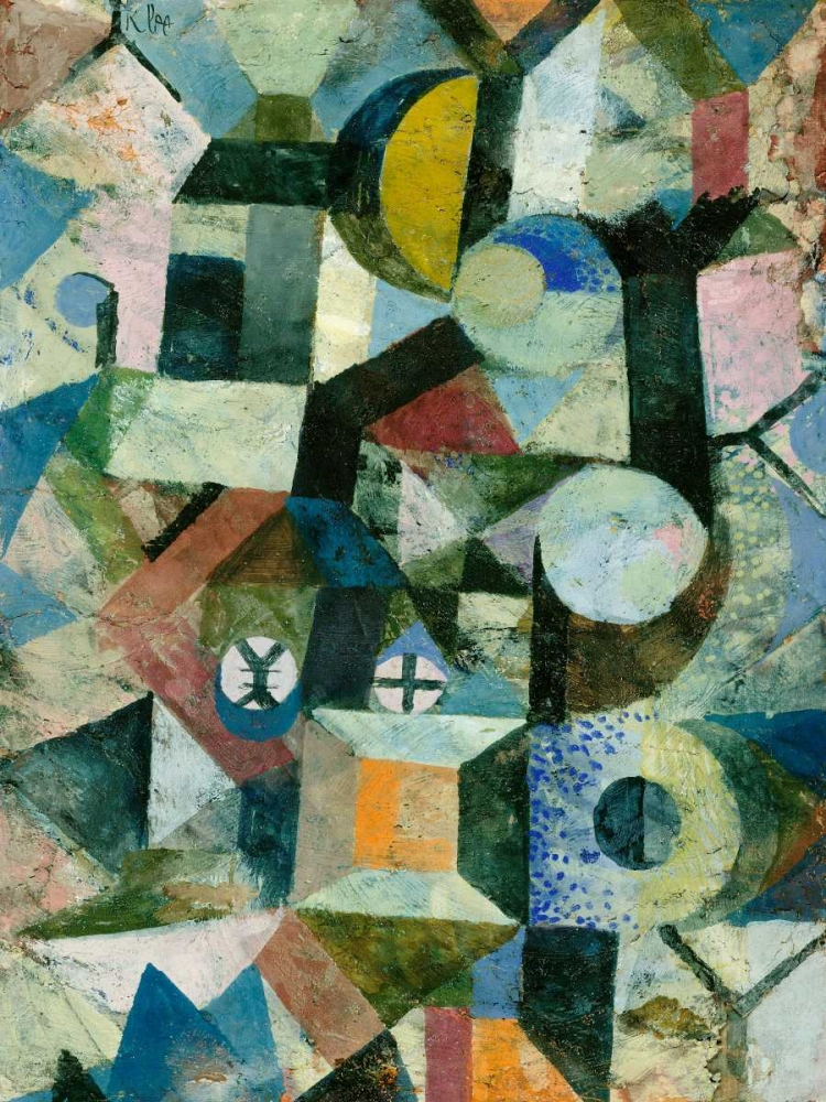 konfigurieren des Kunstdrucks in Wunschgröße Composition with the Yellow Half-Moon and the Y von Klee, Paul