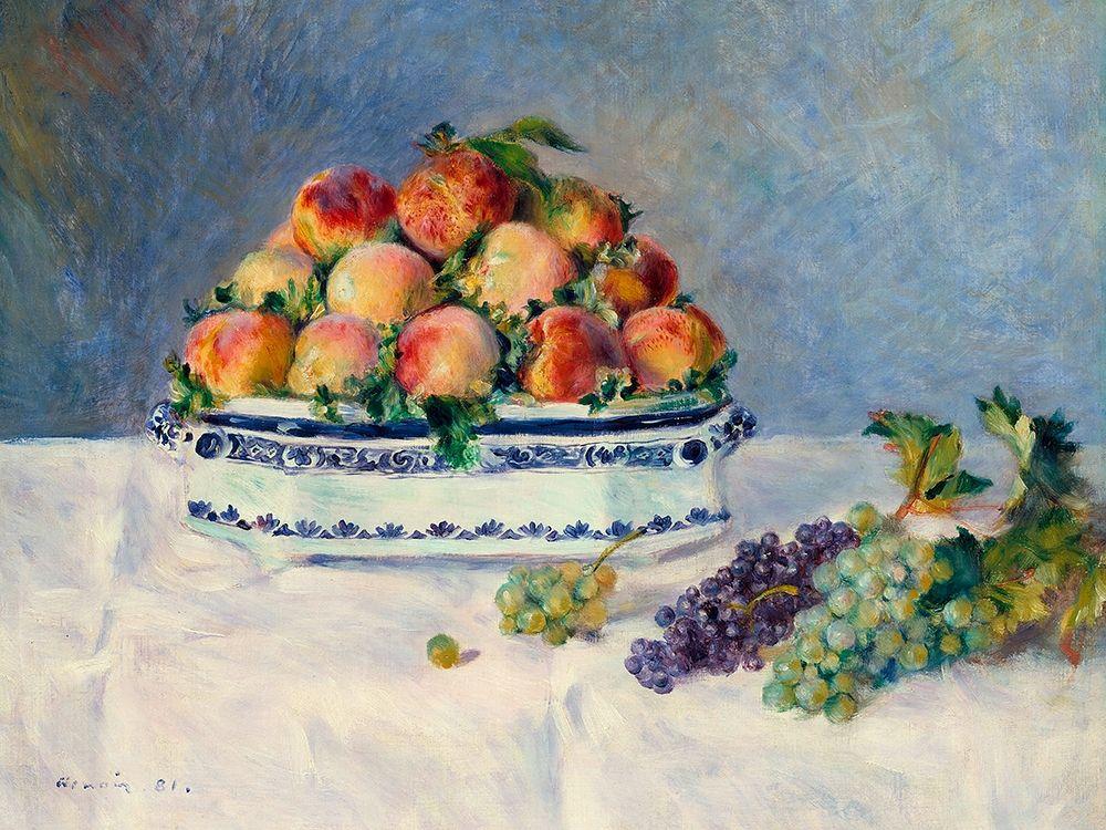 konfigurieren des Kunstdrucks in Wunschgröße Still Life with Peaches and Grapes von Renoir, Pierre-Auguste