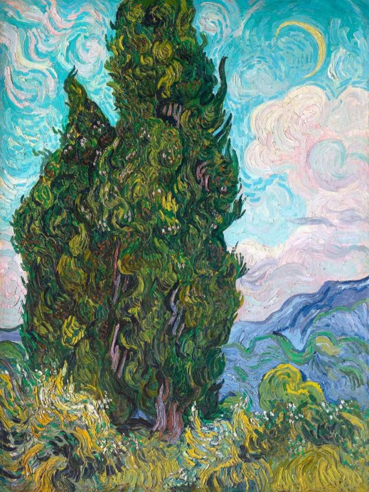 konfigurieren des Kunstdrucks in Wunschgröße Cypresses von Van Gogh, Vincent